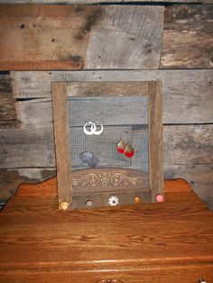 Barn Wood Frame Jewelry Organizer with Brown by TheBarnOwlBoutique