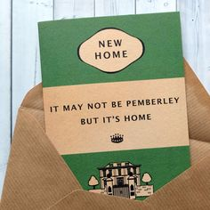 New home card or housewarming card for book lovers. by BookishlyUK