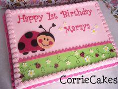ladybug b-day - by Corrie @ CakesDecor.com - cake decorating website