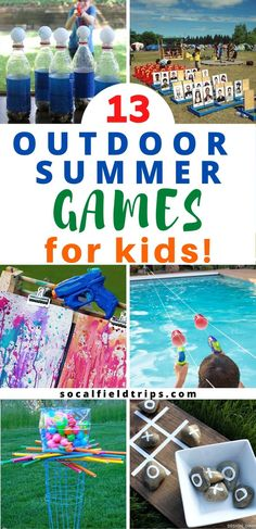 Check out these 13 Outdoor Summer Games For Kids! They're perfect for any occasion including summer playdates, day camps, VBS and backyard barbecues. Camping Games Kids, Summer Camp Games, Summer Camp Crafts, Summer Camps For Kids, Camping With Kids, Camping Ideas, Summer Fun, Outdoor Summer Activities, Outdoor Fun For Kids