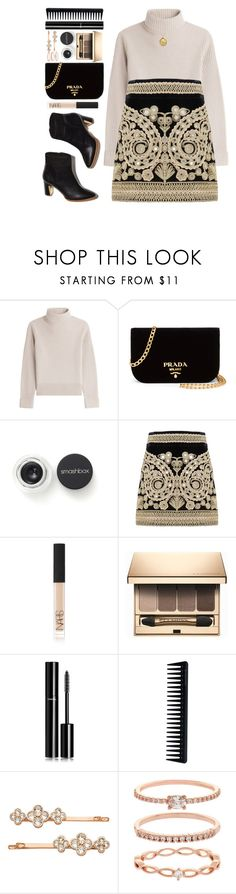 """""""#1068 Sally"""" by blueberrylexie ❤ liked on Polyvore featuring Vanessa Seward, Prada, Smashbox, For Love & Lemons, NARS Cosmetics, Clarins, Chanel, GHD, Henri Bendel and Accessorize"""