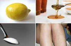 El azúcar con agua, limón y miel es un muy buen remedio casero para eliminar el vello no deseado de su cuerpo. Actúa como la cera y es muy eficaz en la eliminación del crecimiento del pelo no deseado en las piernas y los brazos. Este procedimiento sería un poco doloroso, ya que es más o menos simila
