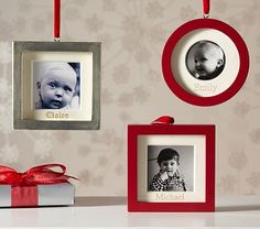 Frame Ornaments #PotteryBarnKids  I buy these for my kids every year and add that year's pictures.