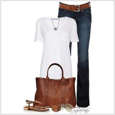 CHATA'S DAILY TIP: A white T-shirt and blue jeans, co-ordinated with tan accessories, is the ultimate casual classic. If you want to look taller and slimmer here is a great accessories style tip: Your bag shouldn't be wider than the width of your body, from the side. COPY CREDIT: Chata Romano Image Consultant, Riana Meyer http://chataromano.com/consultant/riana-meyer/ IMAGE CREDIT: Pinterest