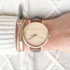 Madera, madera reloj oro rosa cereza, Brown correa de cuero - caña-CR