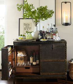 Bar's open! This rustic chest just might be the most handsome bar we've seen... (plus look at all that storage space inside)