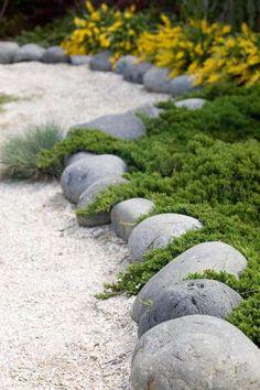 20. Use Gray Boulders to Enhance Greenery