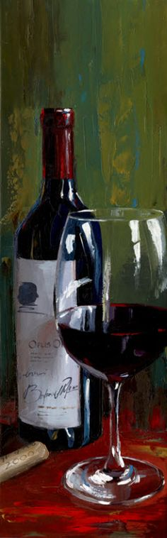 Victor Bauer - Opus One wine 7 Wine Painting, Painting & Drawing, Wine Art, Painting Still Life, In Vino Veritas, Beautiful Paintings, Oeuvre D'art, Painting Inspiration, Art Boards