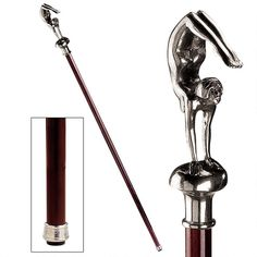 The Padrone Collection: Female Deco Acrobat Pewter Walking Stick Hand Carved Walking Sticks, Walking Sticks And Canes, Walking Canes, Custom Canes, Folding Cane, Cane Stick, Art Deco Home, Vintage Tools, Statue