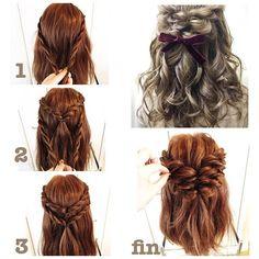 #hairarrenge * ダブルロープ編みハーフアップ * アレンジ解説 * * ①顔とのバランスをみて位置と量を決め、両サイドから毛束を取りロープ編みにします * ②ゴムで結んでくるりんぱ。またその下から2段目の毛束も取ります * ③同じようにロープ編みしてくるりんぱ * 髪を引き出し緩ませて、おろした髪をアイロンで巻いて出来上がりです。 * とても簡単でかわいくなるのでオススメです♪ * * #hair#hairmake#hairset#hairstyle#ヘア#ヘアアレンジ#アレンジヘア#ヘアスタイル#ヘアメイク#ヘアセット#ロープ編み#ハーフアップ#簡単ヘア#簡単ヘアアレンジ#ヘアアレンジ解説#リボン#くるりんぱ