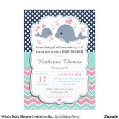 Whale Baby Shower Invitation Baby Girl Pink Polka Lollipop Party Supplies http://www.lollipoppartysupplies.com.au