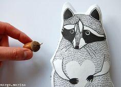 gah! raccoon softie by Tine Pagenberg of Marga Marina.