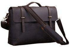 Vintage Crazy Horse Leather Portfolio Messenger Bag