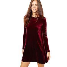 2015 nova celebridade solto linha de veludo de manga comprida vestido de alta qualidade vestido Casual para mulheres