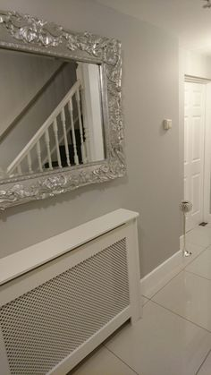 dulux chic shadow so light and airy calm clean grey porch in Room Paint Colors, Paint Colors For Living Room, Dulux Paint Colours Grey, Dulux Paint Colours Hallways, Grey Hallway Paint, Grey And White Hallway, Light Grey Walls, Dulux Chic Shadow, Chic Shadow Dulux Living Room