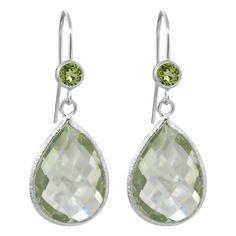13.50 Ct Pear Shape Green Amethyst & Peridot 925 Silver Dangle Earrings #GemStoneKing