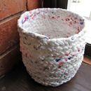 """Make a basket out of plastic bags!  i have made 2 grocery sacks out of the plastic bags, never thought of a """"basket""""! takes a long time, but i use the grocery bags every time i go to store, for the last 4 years..."""