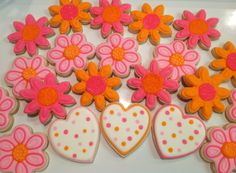 Hearts and Flowers - Decorated Sugar Cookies by I Am The Cookie Lady