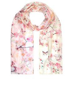 Cherry Blossom Silk Classic Scarf | Pink | Accessorize