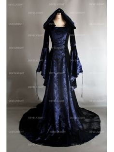 Navy Blue and Black Velvet Gothic Hooded Medieval Dress