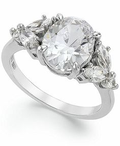 B. Brilliant Sterling Silver Cubic Zirconia Oval Cluster Ring (3-5/8 ct. t.w.)