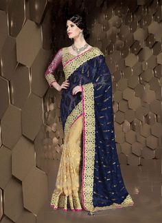 Make the heads flip whenever you costume up in such a desirable blue brasso designer saree. The ethnic embroidered and patch border work for the attire adds a sign of attractiveness statement for your...
