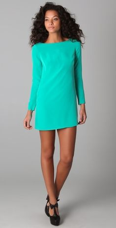 Long sleeve aqua dress
