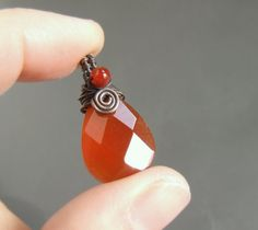 Carnelian necklace red stone necklace natural by VeraNasfaJewelry