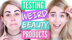 TRYING WEIRD BEAUTY PRODUCTS | PEEL OFF EYEBROWS + MORE!