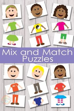 Mix and Match Puzzles {Free Kids Printable} 6 adorable characters and 216 different combinations to make them with these mix and match puzzles! Mix and match puzzles will keep the kids busy for quite a while and they are super fun! Toddler Learning, Preschool Learning, Kindergarten Activities, Teaching, Preschool Family Theme, All About Me Preschool Theme, Preschool Social Studies, Preschool Charts, Preschool Puzzles