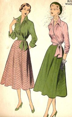 1950s Faux Wrap Blouse and Full Flowy Skirt