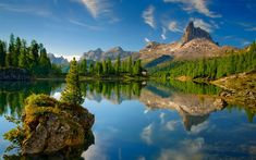 Download wallpapers Dolomites, lake, mountains, summer, Italy, Europe