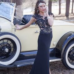 Gatsby inspired prom photo. Black prom dress with lace bodice. Vintage Hollywood style.