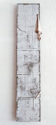 JOSEPH BEUYS Eiszeit (Ice Age) 1983 Wooden board with synthetic polymer, iron pipe, pencil and handkerchief 98 1/2 x 19 3/4 x 4 1/2 inches 250.2 x 50.2 x 11.4 cm