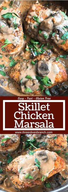 Skillet Chicken Marsala is a one pot meal ready in just 30 minutes. A quick and simple dinner recipe great with potatoes, pasta, rice, and vegetables. Chicken breasts cooked with Marsala wine sauce and mushrooms. Meat And Potatoes Recipes, Chicken Skillet Recipes, Baked Chicken, Skillet Meals, Recipe Chicken, Marsala Wine, Marsala Sauce, Quick Meals To Make, Recipes