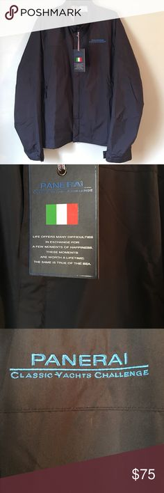 Brand new Officine Panerai Windbreaker. Large Brand new Officine Panerai, it has original tag attached. Navy Blue on the outside and Two toned plaid on the inside. Panerai Jackets & Coats Windbreakers