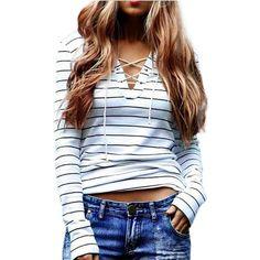 Barato Feitong 2016 Moda Sexy Bandagem T Camisas Listradas Mulheres Manga  Longa Camisa Casual Tops Tee 7e9882d50199d