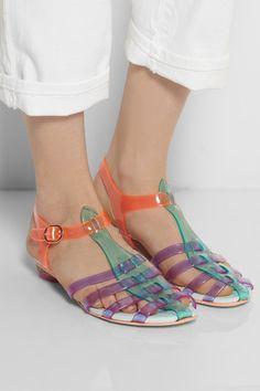 Sophia Webster Violeta vinyl and leather sandals