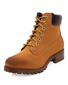 Tan Contrast Cuff Lace Up Boots  | New Look