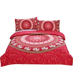 BeddingOutlet+Red+Mandala+Bedding+Home+Elephant+Messenger+Indian+Bed+Linen+Soft+Fabric+Moroccan+Bedclothes+3Pcs+Real+–+GBP+£+30.88
