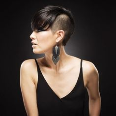 Undercut with long bangs | Short hair. This is the first look in a series of how to style short hair! Photography by Matt Vee, Makeup by Nichole Neal, Hairstyling by Courtney Groce, Modeling and styling by Sarah Ward