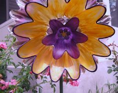 vintage glass plate flower yard art repurposed glass