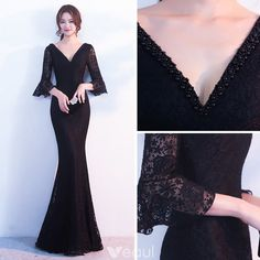 Modern / Fashion Black Evening Dresses 2017 Trumpet / Mermaid Pearl V-Neck Sleeve Floor-Length / Long Ruffle Backless Formal Dresses Modern / Fashion Black Evening Dresses 2017 Trumpet / Mermaid Pearl V-Neck Sleeve Floor-Length / Long Ruffle Backle Long Sleeve Homecoming Dresses, Bridesmaid Dresses, Prom Dresses, Formal Dresses, Black Evening Dresses, Evening Gowns, Dress Outfits, Fashion Dresses, Frack