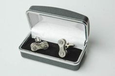 Recycled Bicycle Chain Cuff Links with Gift, Presentation Box. $40.00, via Etsy.