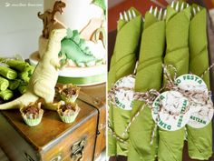 brown and green for this dino party