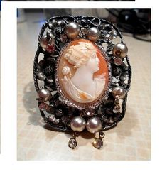 Antique Hand Carved Large Carnelian Shell of Flora Cameo by emenow