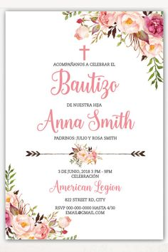 Baptism invitation in spanish. Girl Baptism Party, Baptism Party Decorations, Baptism Invitations Girl, Invitation Design, First Birthdays, Place Card Holders, Baby Shower, Cards, Alice