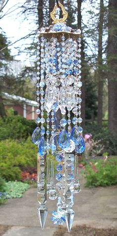 Jeweled Sapphire Ice Antique Crystal Wind Chime