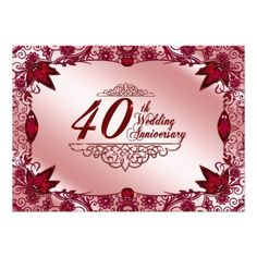 25 best 40th wedding anniversary invitations images on pinterest