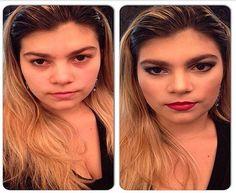 Antes e depois feito pelo Beauty Team da NYX do Shopping Boulevard Belém